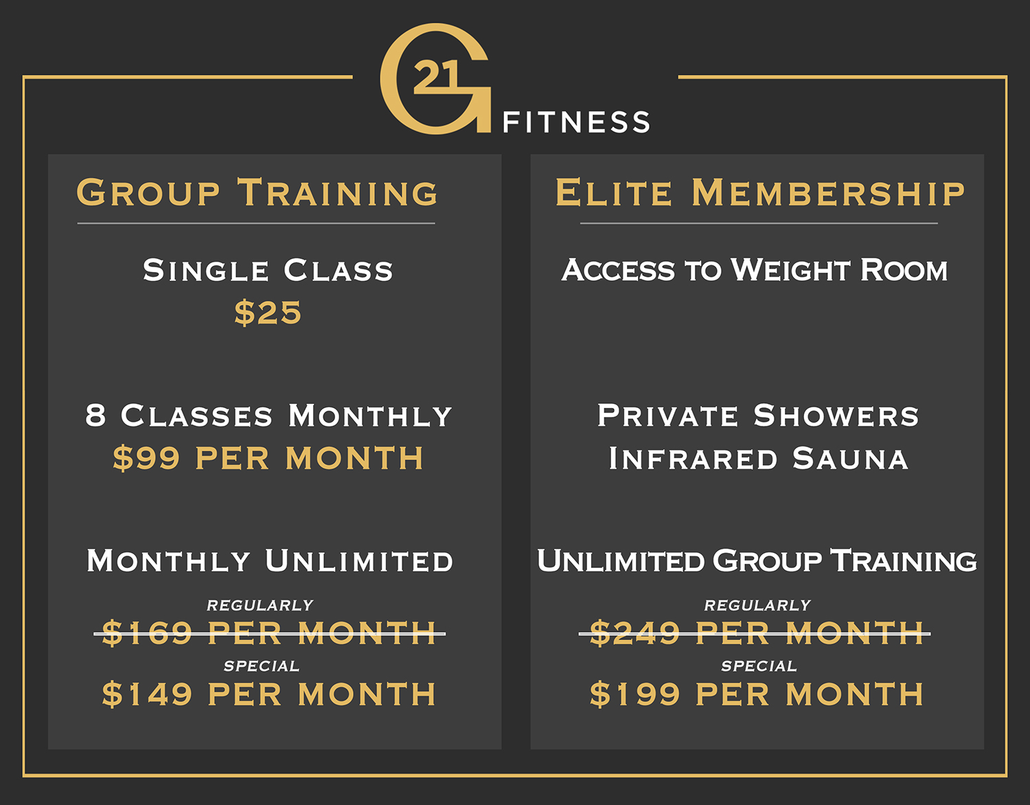 G21 Fitness Pricing Menu Rates
